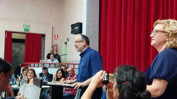 Tibau a Vinebre, durant l'entrega del XXXIII Premi de Narrativa de la Ribera d'Ebre. Foto: Cedida.