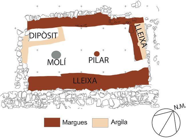 Planta de la casa 8 del poblat del Calvari. S'aprecien els elements de mobiliari intern i el pilar de fusta que sostenia l'altell. Arxiu Núria Rafel